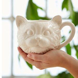 Plum & Bow White Cat Face Mug